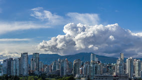 Clouds over city of Vancouver in Canada - panoramic view. Vancouver, Canada - June 10, 2016. Clouds over Vancouver in Canada - panoramic view Royalty Free Stock Photography