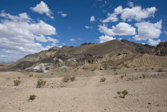 Clouds over colorful desert at Artist Drive in Death Valley, California Royalty Free Stock Image