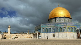 Clouds over Dome of the Rock mosque in Jerusalem stock footage