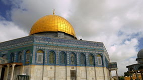 Clouds over Dome of the Rock mosque in Jerusalem stock video