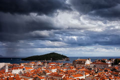 Clouds over Dubrovnik and Lokrum Island Stock Photo