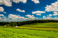 Clouds over farm fields in rural Southern York County, Pennsylva Royalty Free Stock Photography