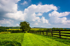 Clouds over fence and farm fields in rural York County, Pennsylv Royalty Free Stock Photos