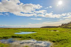Clouds over fields, Grange-over-sands, Cumbria, England Stock Image