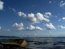 Clouds over fjord. Sunny late-summer day at the Flensborg fjord (Germany Stock Photo