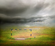 Clouds over the football field Royalty Free Stock Images