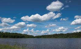 Clouds over a forest lake at noon. Clouds over a forest lake. There really is such a blue sky and such a beautiful view Royalty Free Stock Photo