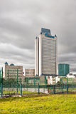 Clouds over Gazprom tower headquarter in Moscow Royalty Free Stock Image