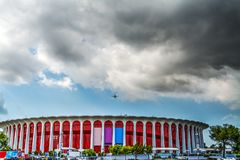Clouds over Great Western Forum. In Inglewood, California Stock Image
