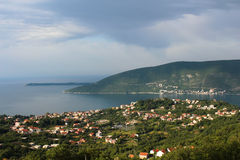 Clouds over the Herceg Novi. Montenegro. Panorama of the city Herceg Novi.Storm clouds over the bay Stock Photography