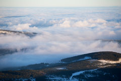 Clouds over the hills of Karkonosze Royalty Free Stock Images