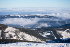 Clouds over the hills of Karkonosze Stock Images