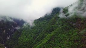 Clouds over Hills at Taroko Gorge National Park in Taiwan. Aerial View stock video