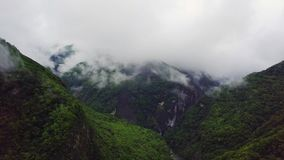 Clouds over Hills at Taroko Gorge National Park in Taiwan. Aerial view. Shot with a DJI Mavic fps 29,97 4k stock video footage