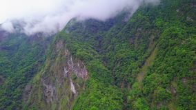 Clouds over Hills at Taroko Gorge National Park in Taiwan. Aerial view. Shot with a DJI Mavic fps 29,97 4k stock video
