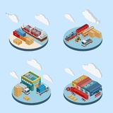 Clouds over illustrations of industrial facilities. Isometric vector illustrations of white clouds over various freight transport and industrial facilities royalty free illustration