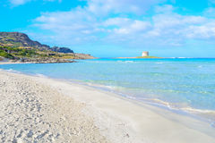 Clouds over La Pelosa beach. La Pelosa beach under a cloudy sky, Sardinia Stock Images
