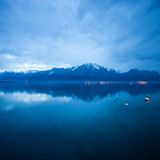 Clouds over lac leman. At dusk Royalty Free Stock Image