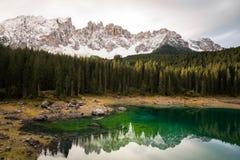 Clouds over Lago di Carezza Stock Image