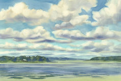 Clouds over the lake watercolor Royalty Free Stock Images