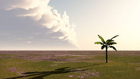 Clouds over a landscape. Computer generated 3D illustration with clouds over a landscape Royalty Free Stock Photo