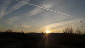 Clouds over the meadow. Clouds in the sky over the meadow stock video footage