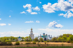 Clouds over the monastery in Novgorod Royalty Free Stock Images
