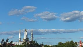 Clouds over mosque stock footage