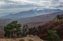 Clouds over Mount Demerji. Autumn view from mountains Demerji the southern coast of Crimea Stock Photo