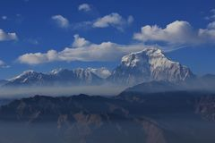 Clouds over mount Dhaulagiri stock image