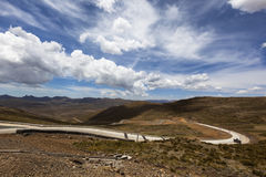 Clouds over the mountain pass. In Lesotho Stock Photography