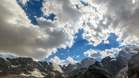 Clouds over a mountain valley. TimeLapse. Pamir, stock video
