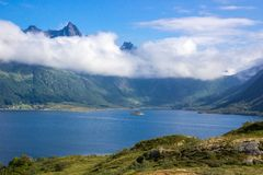 Fjord in Lofoten in Norway royalty free stock photography