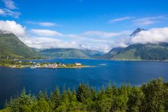 Fjord in Lofoten in Norway stock image