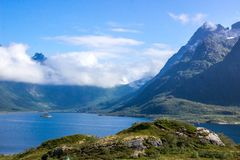 Fjord in Lofoten in Norway stock photo