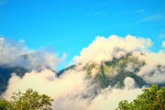 White Clouds over HImalayan Mountains in Early Morning at Uttarkashi, Uttarakhand Royalty Free Stock Photography