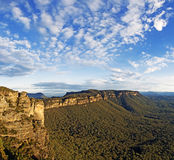 Clouds over Narrowneck, Blue Mountains. Beautiful cloud formation over Narrowneck, Katoomba in the Blue Mountains, Australia Stock Photo