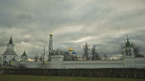 Clouds over orthodox church. Timelapse stock footage