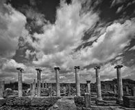 Clouds Over Perga Ruins in Monotone Stock Images