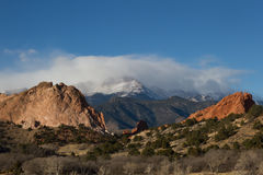Clouds Over Pikes Peak and Garden of the Gods Royalty Free Stock Photos