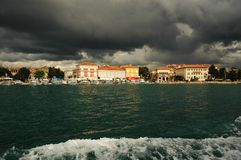 Clouds over Porec, Croatia. Boat trip along the coastline to Porec stock photos