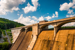 Clouds over Prettyboy Dam, in Baltimore County, Maryland. Stock Photography