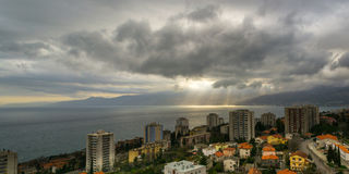 Clouds over Rijeka. Stormy Clouds over Zamet, Rijeka, Croatia, photographed at Spring`s afternoon hours Stock Photography