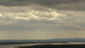 Clouds over the river Volga timelapse stock footage