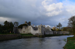 Clouds Over the Ruins of Desmond Castle in Ireland Stock Images