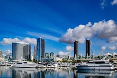Clouds Over the San Diego Harbor. Beautiful clouds illuminate the sky over San Diego Harbor stock photos
