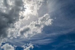 Clouds over the sea. Alusta Blue water Royalty Free Stock Photo
