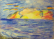 Clouds over the sea. Children's artwork Royalty Free Stock Photography