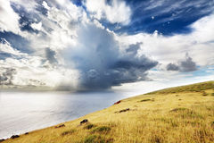 Clouds over sea and green hill in Easter Island. Clouds and rain over sea as seen from a high hill in Easter Island royalty free stock photo