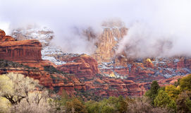 Clouds Over Sedona Red Rock Canyon Snow Arizona Stock Photography
